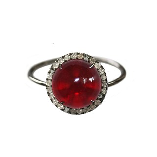Sterling Silver Red Opal and 1/4ct TDW Diamond Ring