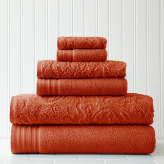 6-Piece Jacquard/Solid Leaf Swirl Towel Set