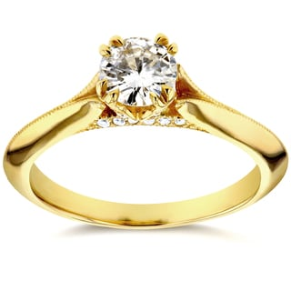 Annello 14k Yellow Gold 1/2ct TDW Diamond Antique Floral Soft Knife Edge Engagement Ring (H-I, I1-I2)