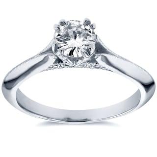 Annello 14k White Gold 1/2ct TDW Diamond Antique Floral Soft Knife Edge Engagement Ring (H-I, I1-I2)