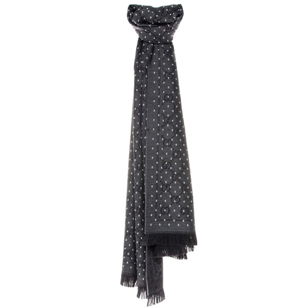 Gucci GG Jacquard Wool Scarf with Studs