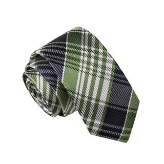 Skinny Tie Madness Men's Air Force Two Green Plaid Tie
