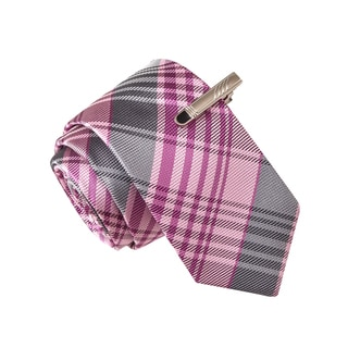 Skinny Tie Madness Men's Slight of Hand Grenade Purple Plaid Tie with Tie Clip