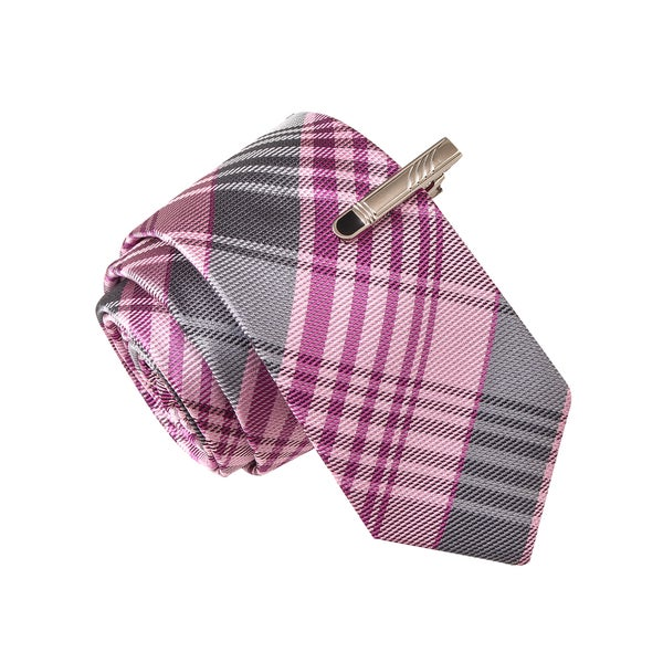 Skinny Tie Madness Men's Slight of Hand Grenade Purple Plaid Tie with Tie Clip