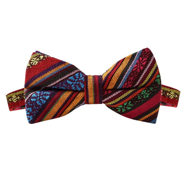 Skinny Tie Madness Men's Shirley Temple with Vodka Multi Tribal Print Bowtie