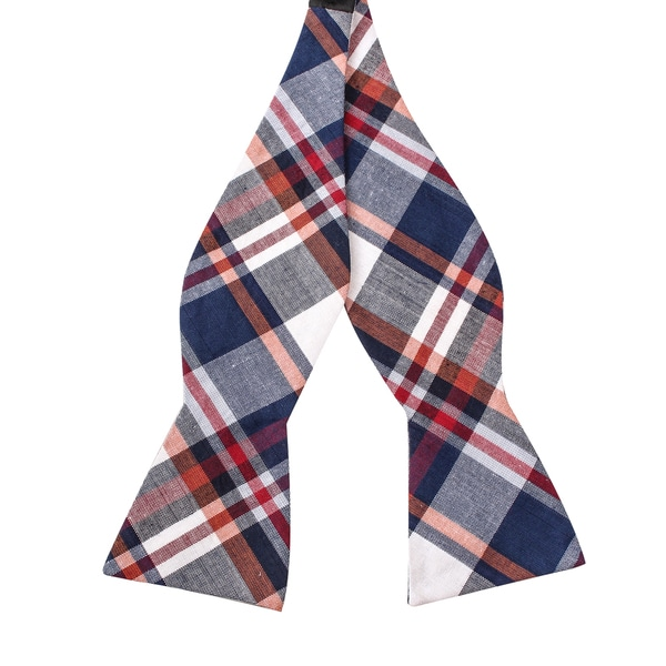 Skinny Tie Madness Men's Downside Up Multi Color Plaid Bowtie