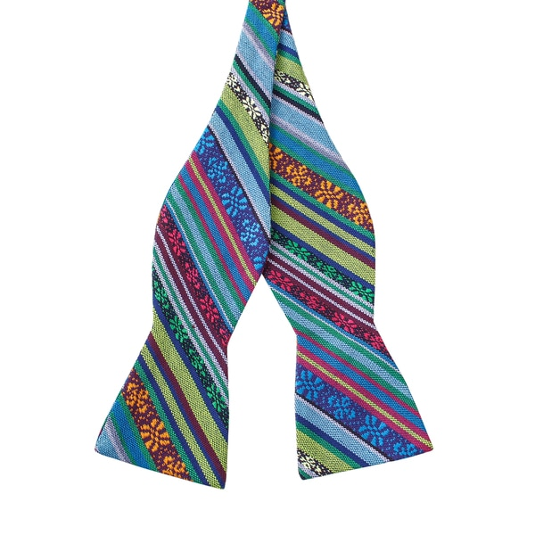 Skinny Tie Madness Men's Mr Personality Multi Color Tribal Print Bowtie