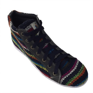 Andiz Women's Size-12 Handmade Multi-colored High-top Wool Shoes (Ecuador)