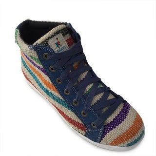 Andiz Women's Size-12 Hand-made Multi-colored High-top Wool Shoes (Ecuador)