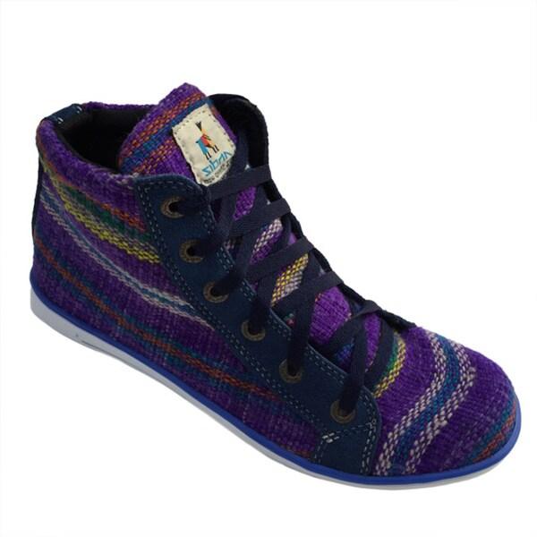 Andiz Women's Size-10 Handmade Multi-colored High-top Wool Shoes (Ecuador)