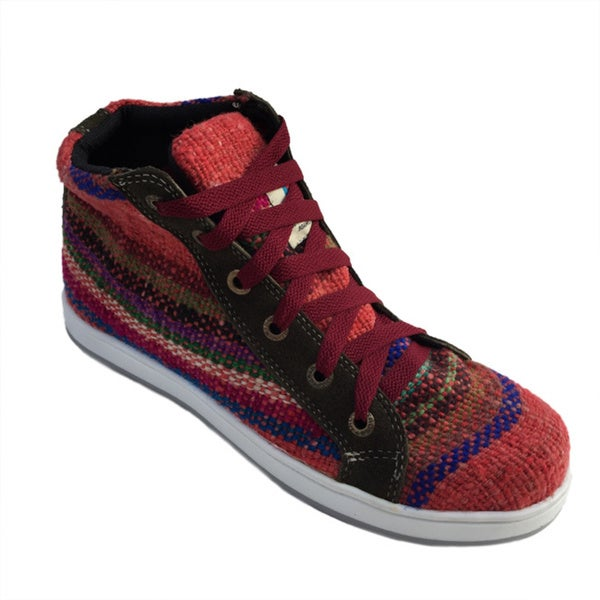 Andiz Women's Size-9 Handmade Multi-colored High-top Wool Shoes (Ecuador)