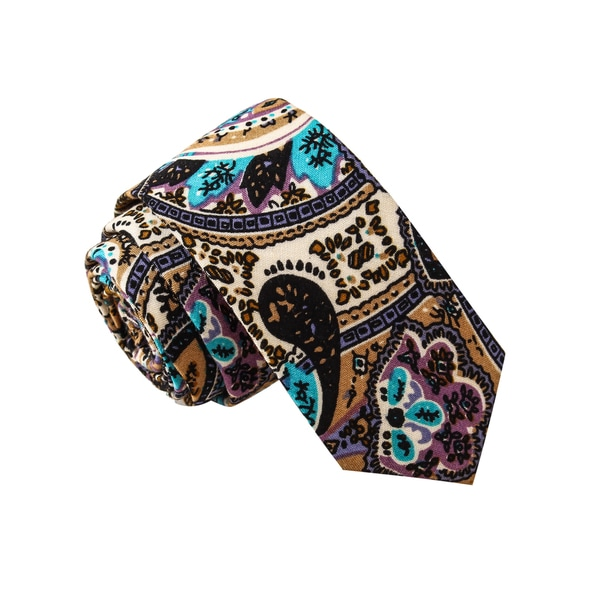 Skinny Tie Madness Men's Slosh Bucket Multi Color Paisley Print Skinny Tie