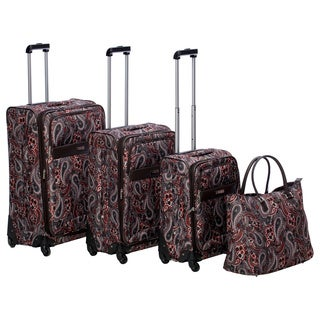 Anne Klein Portland Paisley 4-piece Expandable Spinner Luggage Set