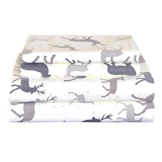 Pointehaven Heavy Weight Deep Pocket Flannel Sheet Set - Autumn Deer