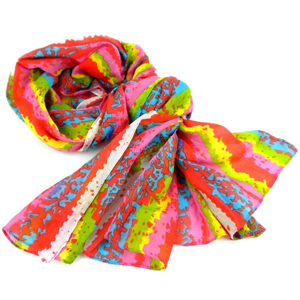 Handmade Brighten Up Your Day Design Cotton Scarf (India)