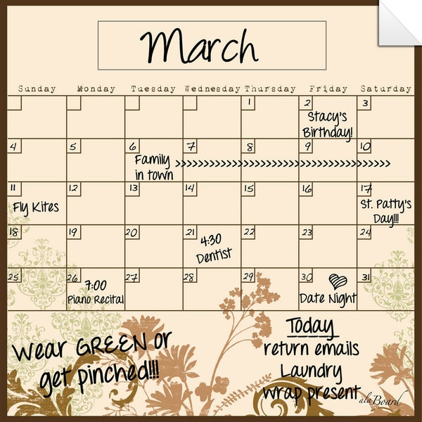 Floral Collage Dry Erase Monthly Calendar Decal