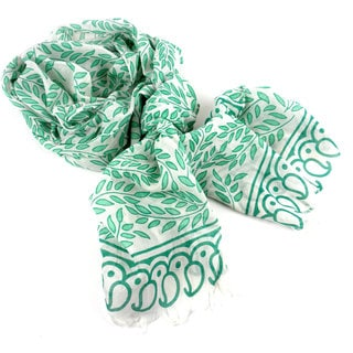 Handmade Leaves and Paisley Design Cotton Scarf (India)