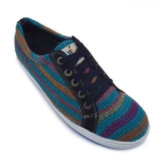 Andiz Women's Size-12 Handmade Multi-colored Oxford Wool Shoes (Ecuador)