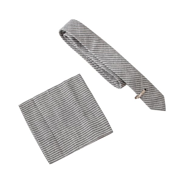 Skinny Tie Madness Men's One Point Twenty One Gigawatt Grey Stripe Tie with Clip