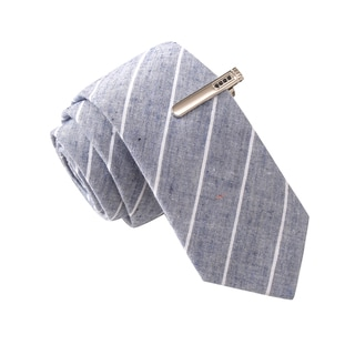 Skinny Tie Madness Men's Senator Senile Grey Stripe Skinny Tie with Tie Clip