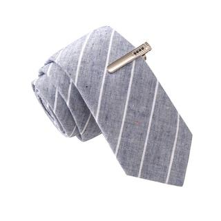 Skinny Tie Madness Men's Senator Senile Grey Stripe Skinny Tie with Tie Clip