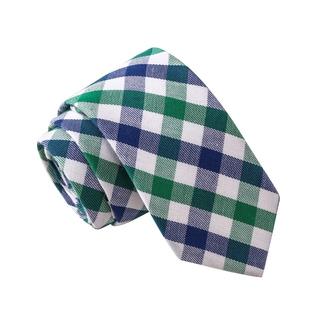 Skinny Tie Madness Men's Subtly Unsubtle Green/Blue Plaid Skinny Tie