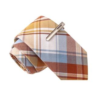 Skinny Tie Madness Men's Dirk Diggler Brown Plaid Skinny Tie with Tie Clip