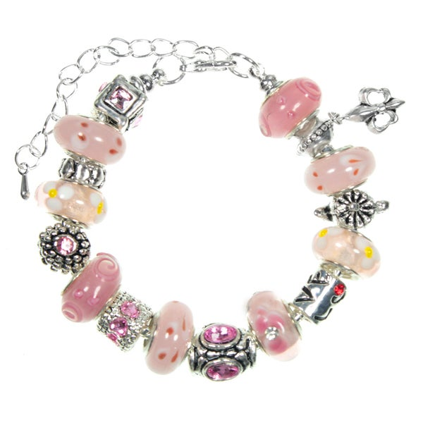 Girls and Petite Pink Lampwork Glass Bead European Charm Bracelet
