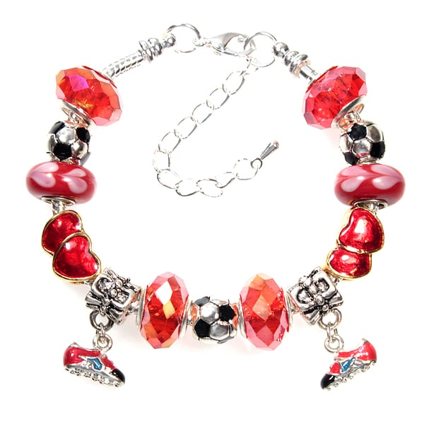 Soccer Ball and Soccer Shoe Red Crystal Bead European Style Charm Bracelet