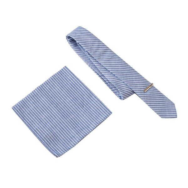 Skinny Tie Madness Men's The Prescott Blue Stripe Tie with Clip & Pocket Square