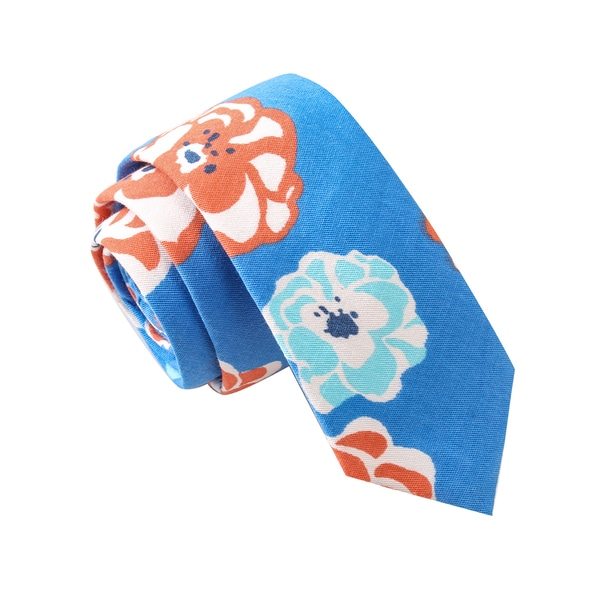 Skinny Tie Madness Men's Floral Comforts Blue Floral Print Skinny Tie