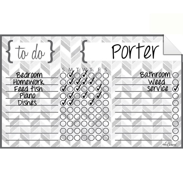 Herringbone Grey Dry Erase Chore Chart Decal