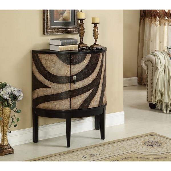 Somette Striped Crescent 1-Door Cabinet