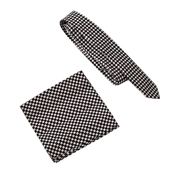 Skinny Tie Madness Men's Checkmate Black Print Skinny Tie with pocket square