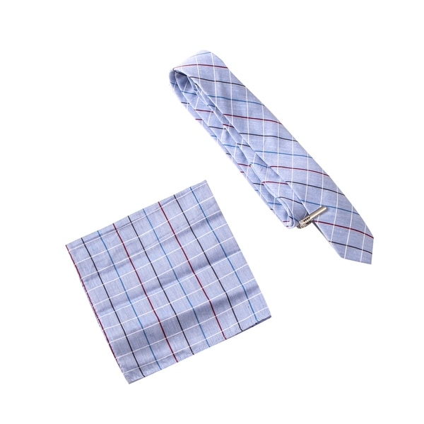 Skinny Tie Madness Men's Anxious Anna Grey Plaid Tie with Pocket Square and Clip