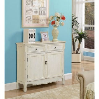 Somette Cream Weathered 2-Drawer Console Cupboard