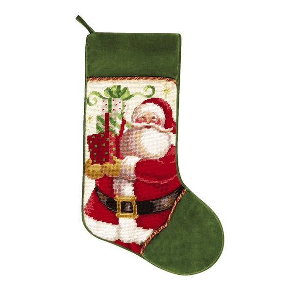 Needlepoint Stocking Mr. Claus with Presents