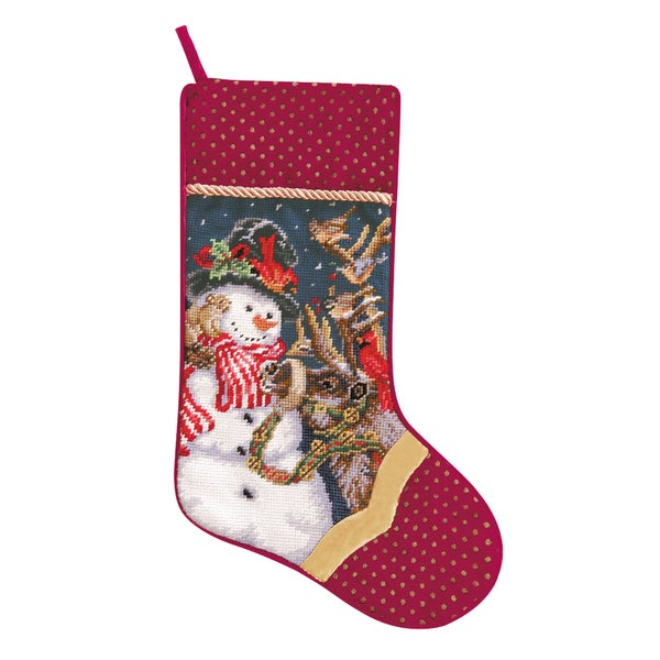 Needlepoint Stocking Frosty With Bird and