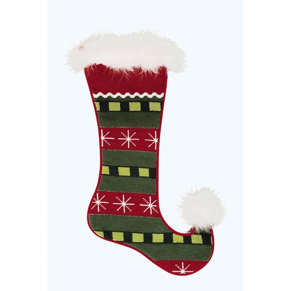 Jester Needlepoint Stocking Snowflakes
