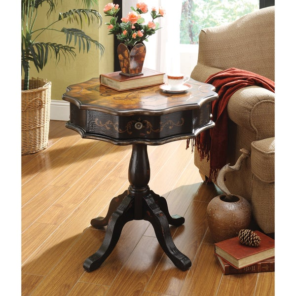 Somette Black Distressed 1-Drawer Accent Table