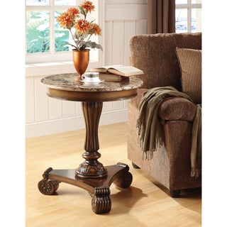 Somette 24-inch Round Caramel Marble Accent Table