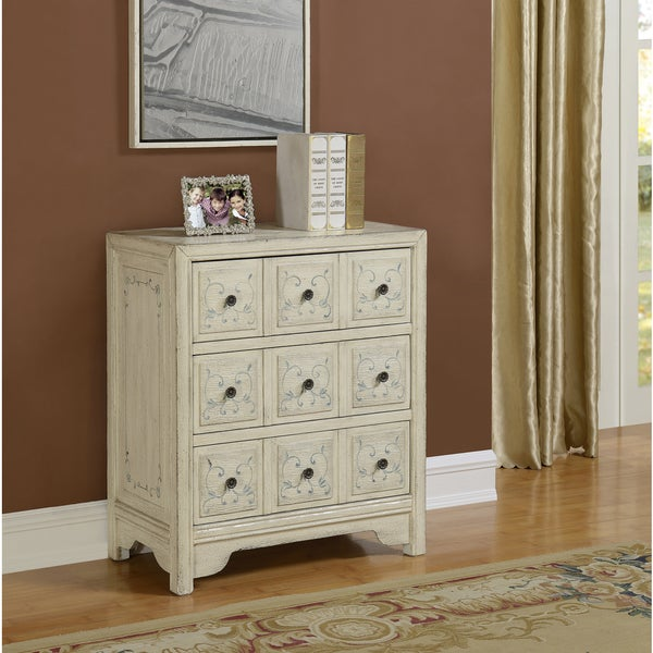 Somette Ivory Distressed 3-Drawer Chest