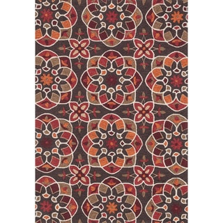 Hand-hooked Charlotte Brown/ Spice Kaleidoscope Rug (3'6 x 5'6)