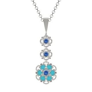 Lucia Costin Sterling Silver Blue/ Turquoise Crystal Pendant