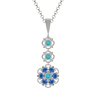 Lucia Costin Sterling Silver Turquoise/ Blue Crystal Pendant