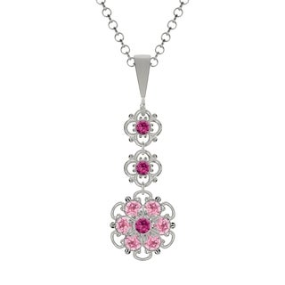Lucia Costin Sterling Silver Fuchsia/ Light Pink Crystal Pendant