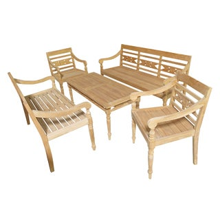 D-Art Alwari Teak Carved 5-piece Patio Set (Indonesia)