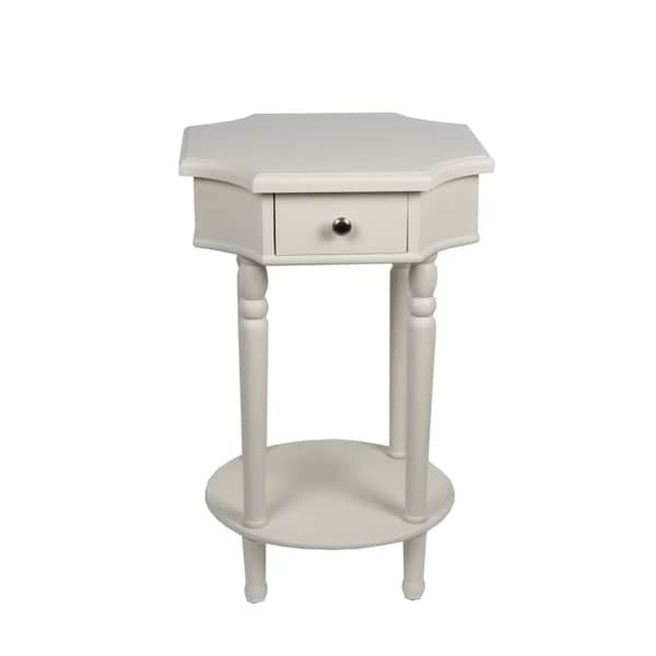 Privilege White Single Drawer Accent Stand
