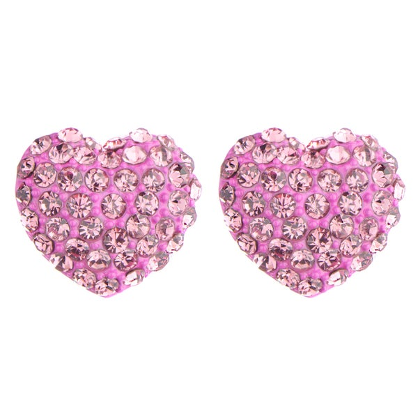 Pink Rhinestone Heart Stud Earrings