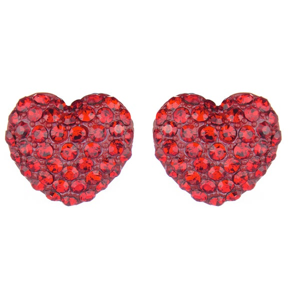 Red Rhinestone Heart Stud Earrings
